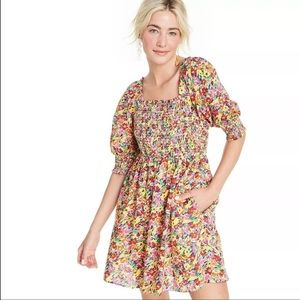NWT RIXO x target floral puff sleeves mini dress S